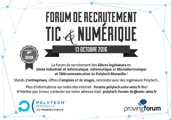 Flyer pour le 16eme forum de recrutement TIC & Numérique.